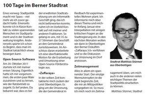 Matthias Stürmer 100 Tage im Berner Stadtrat
