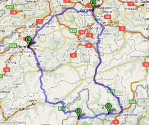 Google Map of the 540km trip