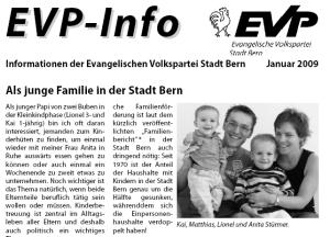 EVP info Januar 2009 Stadt Bern - Matthias Stürmer - Als junge Familie in der Stadt Bern