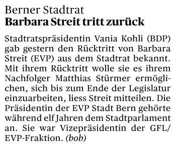 Rücktritt Barbara Streit